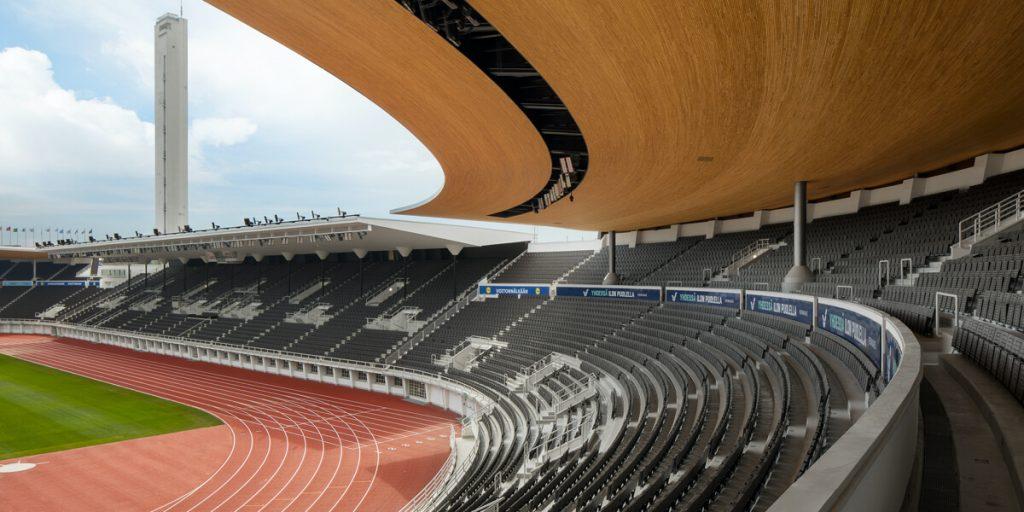 Helsingin Olympiastadionin katsomo.